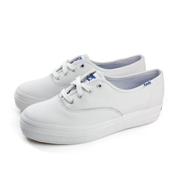 KedsTRIPLELEATHERWHITE休閒鞋皮質厚底女鞋經典款白色9171W130020no202