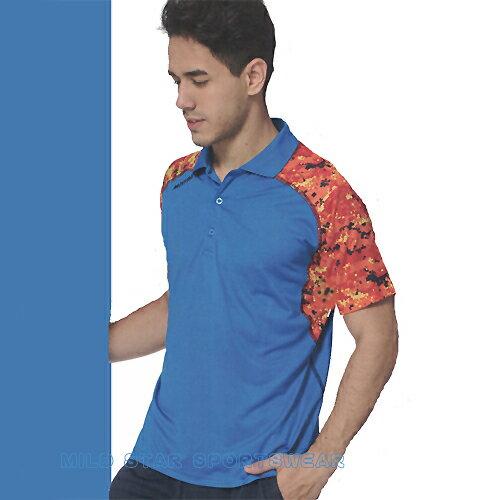 avalok 運動休閒服飾:MILDSTAR男女吸濕排汗印花圖騰短POLO衫-寶藍橘#LS801405