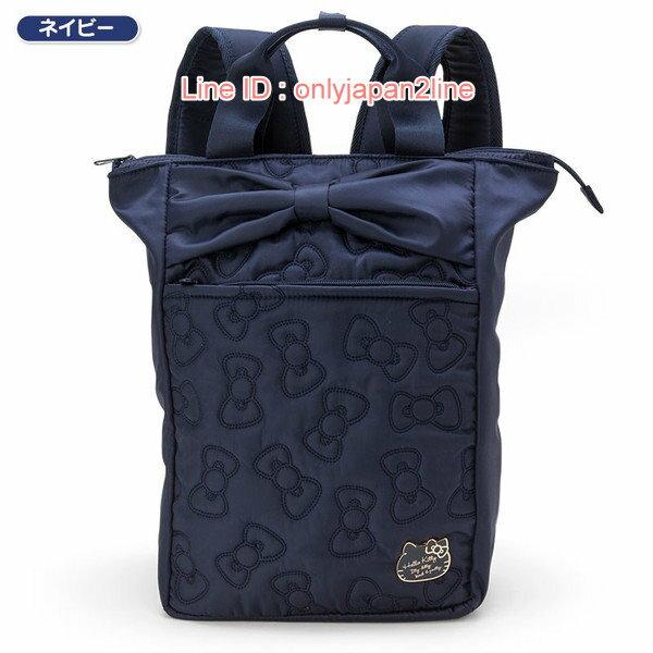【真愛日本】17021000044  輕量兩用後背包-電繡蝴蝶結藍AAA   三麗鷗Hello Kitty凱蒂貓 後背包 背包 書包