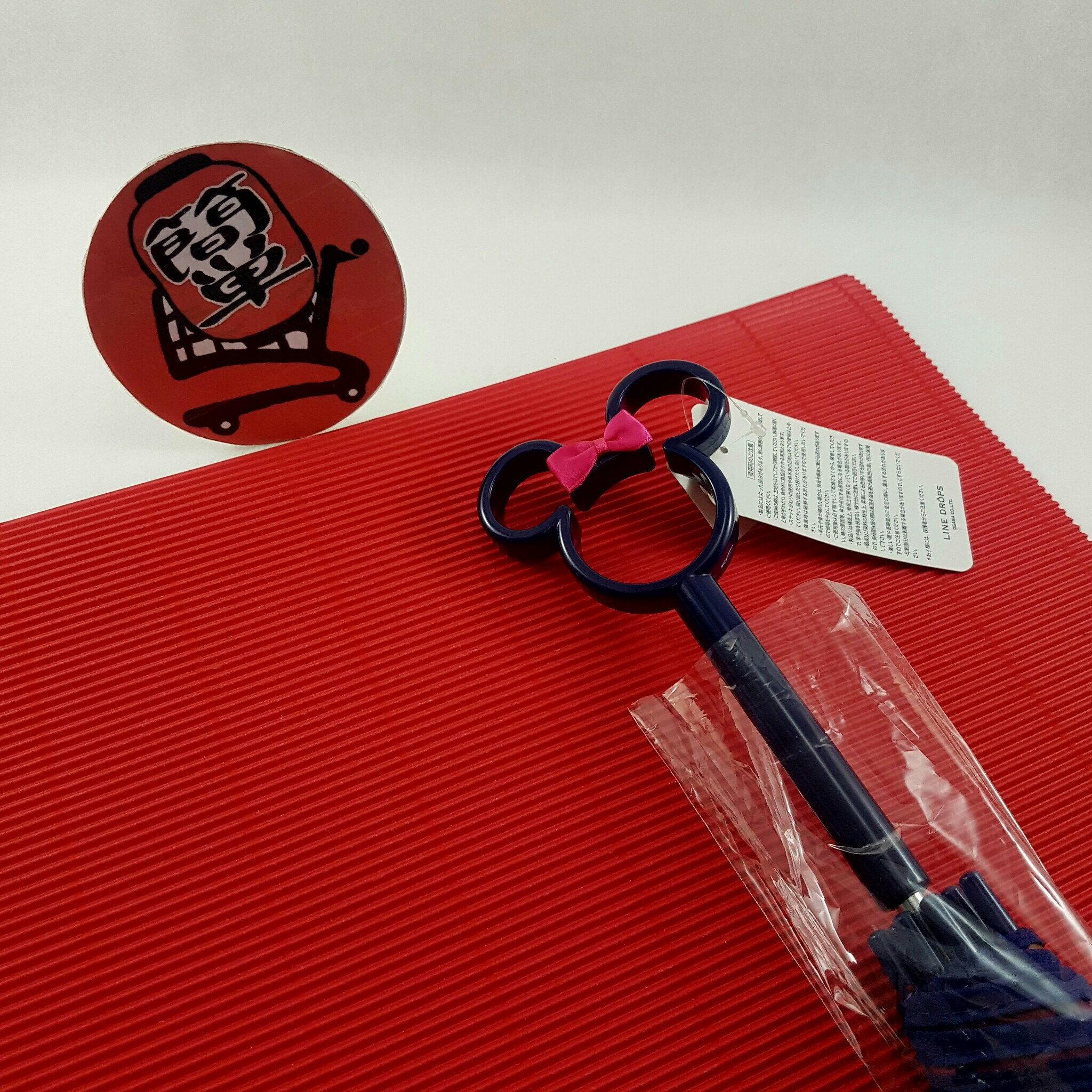 『簡?全球購』黑柄花朵米妮款 日本代購 迪士尼 米妮鏤空造型把手 透明直傘 雨傘