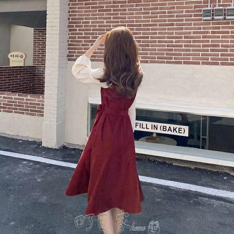連身裙春款2021年春裝新款潮大碼女裝早春穿搭紅色法式茶歇連衣裙子春秋洋裝