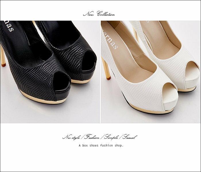 格子舖*【KF2598-3】韓國製造 絕美女神 仿蛇皮紋皮革 14CM金屬細高跟鞋 魚口跟鞋 2色 1