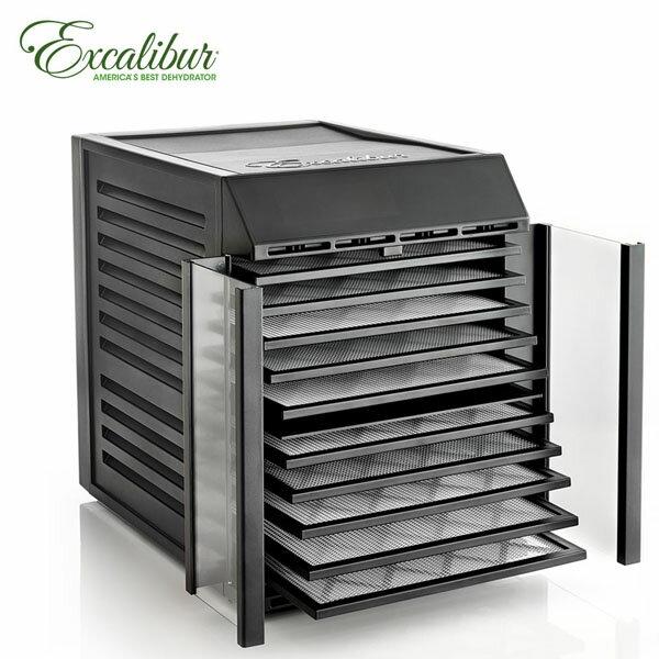 ★加贈真空保鮮組★ Excalibur  十層數位式雙區雙電壓低溫乾果機 / 黑 / 對開透明門 RES10 0