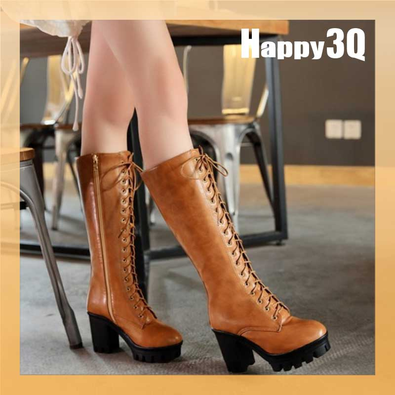 復古英倫舒適騎士風粗跟綁帶中長筒及膝靴~棕  黃  黑34~43~AAA0858~