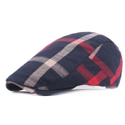 貝雷帽鴨舌帽-簡約條紋遮陽棉質男女帽子4色73tv4【獨家進口】【米蘭精品】