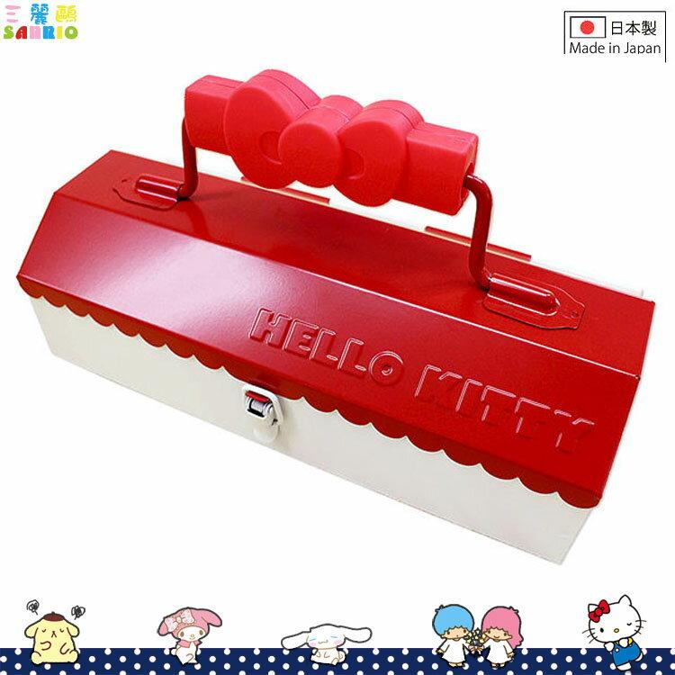 日本製 凱蒂貓 Hello Kitty 鐵製 屋型 手提工具箱 鐵製收納箱 日本進口正版 761967