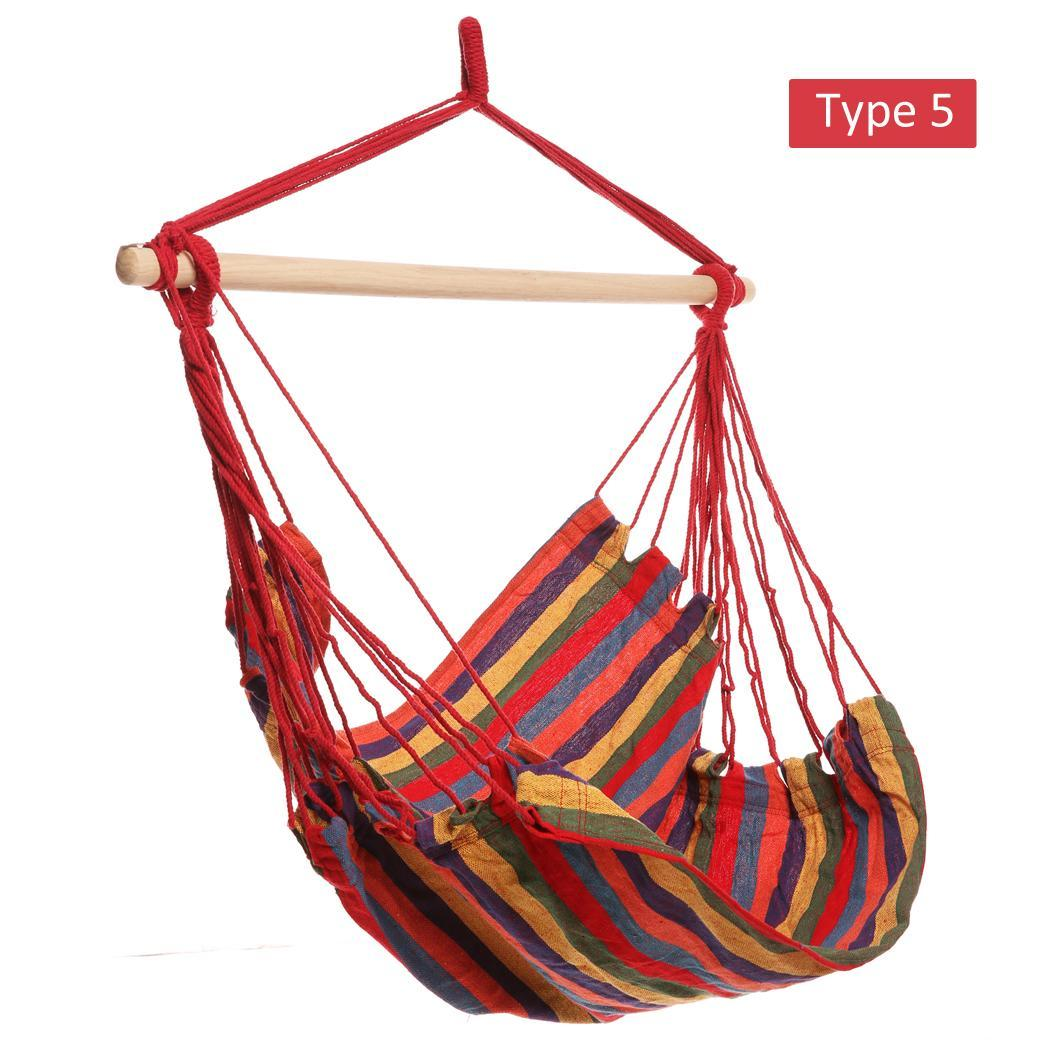 Striped Hanging Chair Hammock with Wooden Stretcher - load up to 120 kg Multicolor for Yard, Bedroom 5