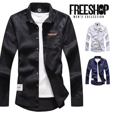 《全店399免運》Free Shop【QSPN3813】日韓系百搭 款皮標口袋素色修身工作襯衫長袖襯衫 三色