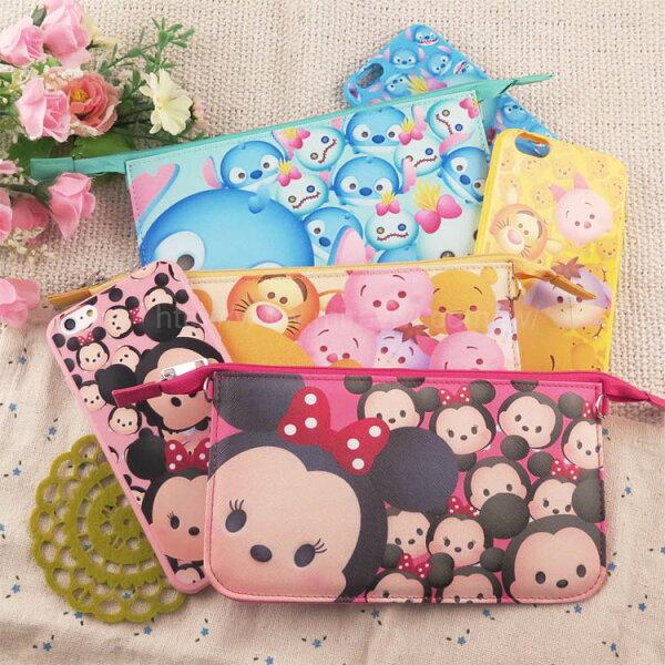 Miravivi:【Disney】迪士尼iPhone66S彩繪4.7保護軟套+手機袋禮盒組-TsumTsum系列