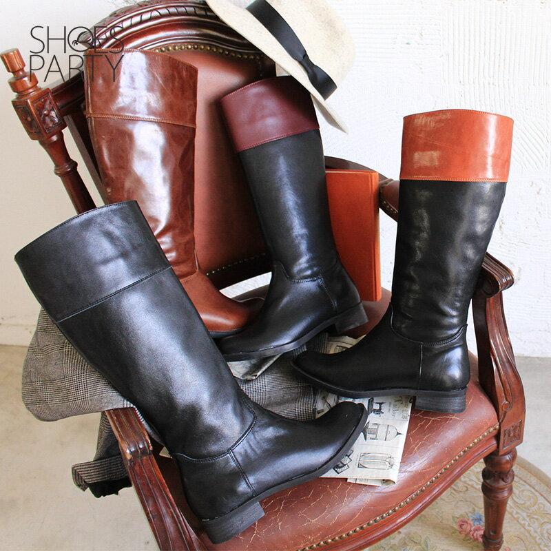 【B2-17340L】修飾小腿肚真皮率性乘馬靴_Shoes Party 1