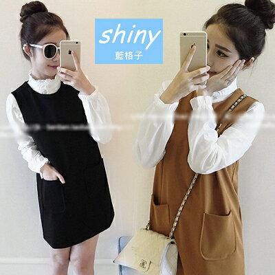 【V4794】shiny藍格子-俏麗甜心.純色花瓣領長袖襯衫+寬鬆背心裙兩件套長版上衣