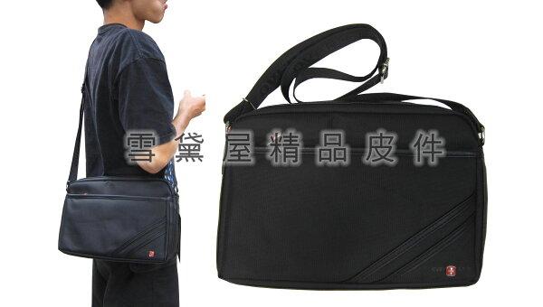 ~雪黛屋~OVER-LAND肩側包中容量二層拉鍊式主袋口隨身物品包可放平板電腦防水尼龍布+皮革材質T2987