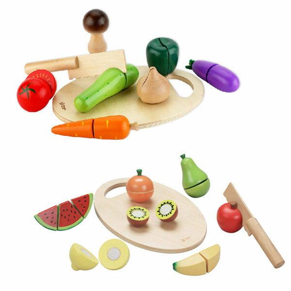 孩子國 classic world 德國經典木玩 客來喜 蔬菜+水果切切樂超值組