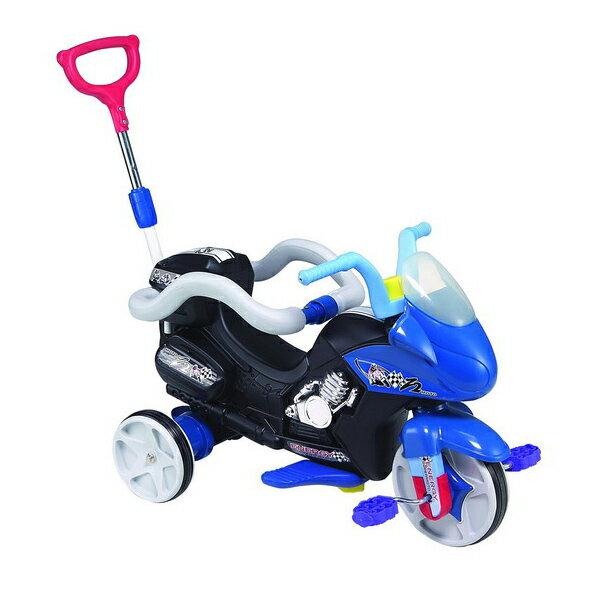 【孩子國】重型機車造型三輪車附伸縮拉桿及安全護欄(黑色)