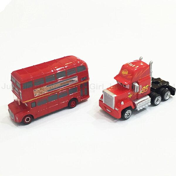 迪士尼 TOMY 玩具車 小汽車 汽車總動員 麥坤 聯結車頭 雙層巴士 玩具 正版日本進口 * JustGirl *