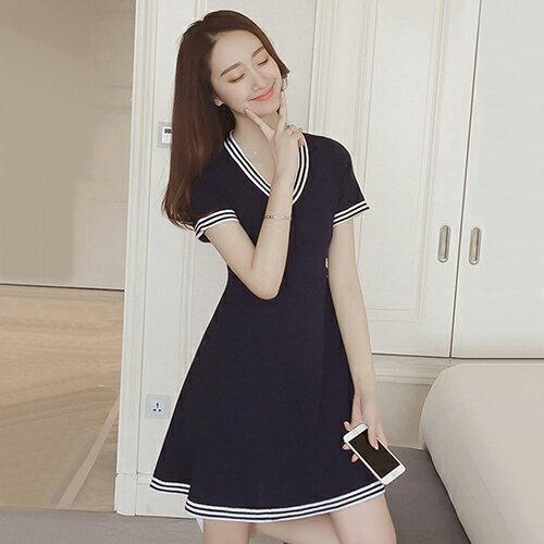 雪紡配色連身裙(M~4XL) 【OREAD】 0