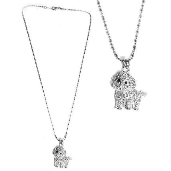 【摩達客】可愛狗狗造型銀色項鍊