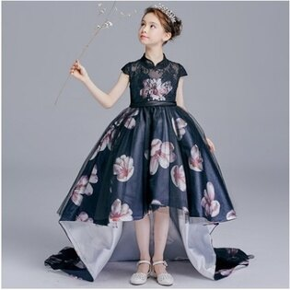 天使嫁衣:天使嫁衣【童C0144】中式旗袍領改良特色前短後長女童禮服˙預購訂製款