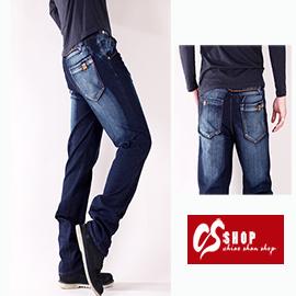 【CS衣舖 】高彈力 造型刷白 丹寧 中直筒牛仔褲 7238 - 限時優惠好康折扣