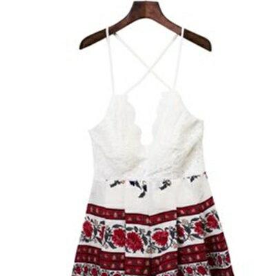 連身褲裝棉質吊帶短褲~蕾絲刺繡美背 女褲裝73ht100~ ~~米蘭 ~ ~  好康折扣