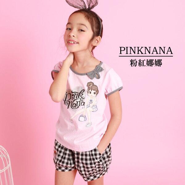 PINKNANA童裝-大童娜娜短袖印花棉質上衣36155