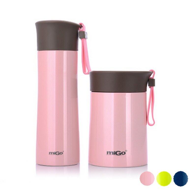 migo 2入特惠組 燜燒罐400ml+保溫杯450ml  304不銹鋼內外 真空強效保溫 悶燒罐/燜燒壺/保溫飯盒/隨手杯 304不鏽鋼