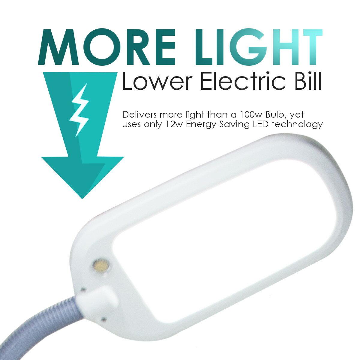 LED Bright Reader Natural Daylight Full Spectrum Desk Lamp Grey 1