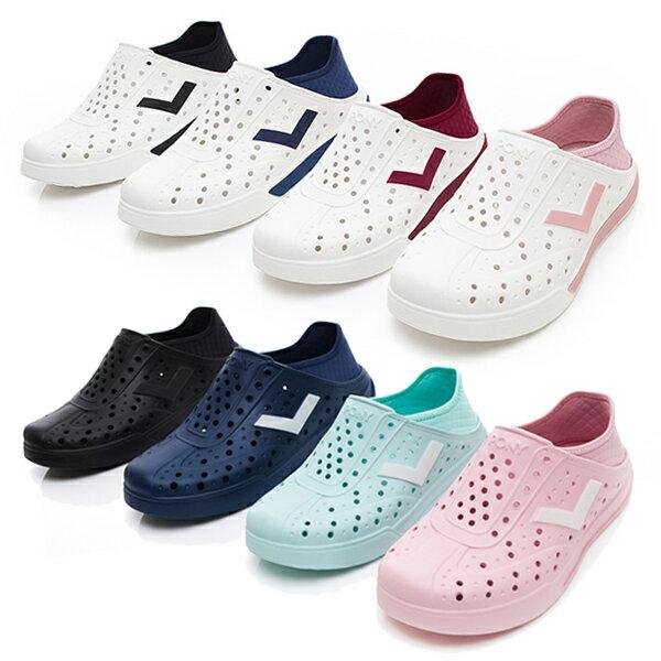 《2019新款》Shoestw【92U1SA03PK】PONY Enjoy 洞洞鞋 水鞋 海灘鞋 可踩跟 懶人拖 菱格紋 全粉紅 白V 男女尺寸都有 4
