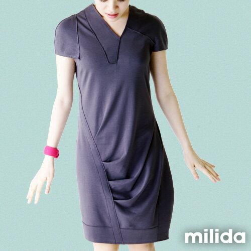 【Milida,全店七折免運】-春夏商品-V領款-修身氣質洋裝 9