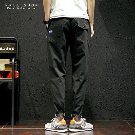 Free Shop:FreeShop簡約個性單品雙條反摺休閒長褲抽繩鬆緊多口袋設計修身小腳長褲有大尺碼【QTJK116】