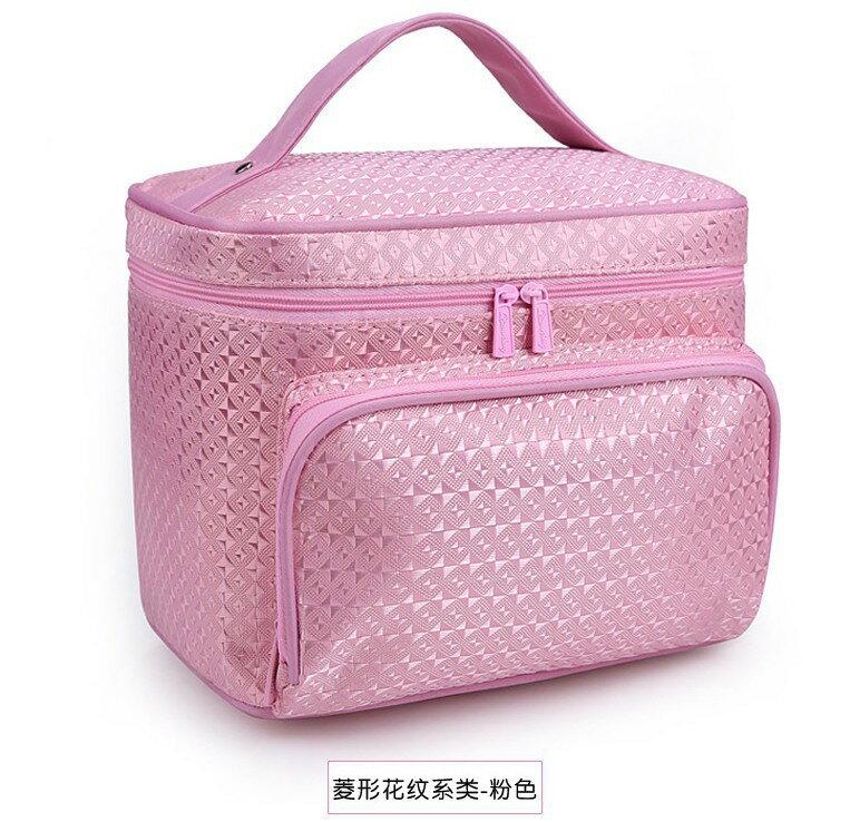 <br/><br/>  韓版大號花紋手提化妝包可折疊防水菱格-粉色<br/><br/>