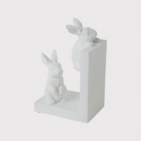 簡約純白兔子書擋