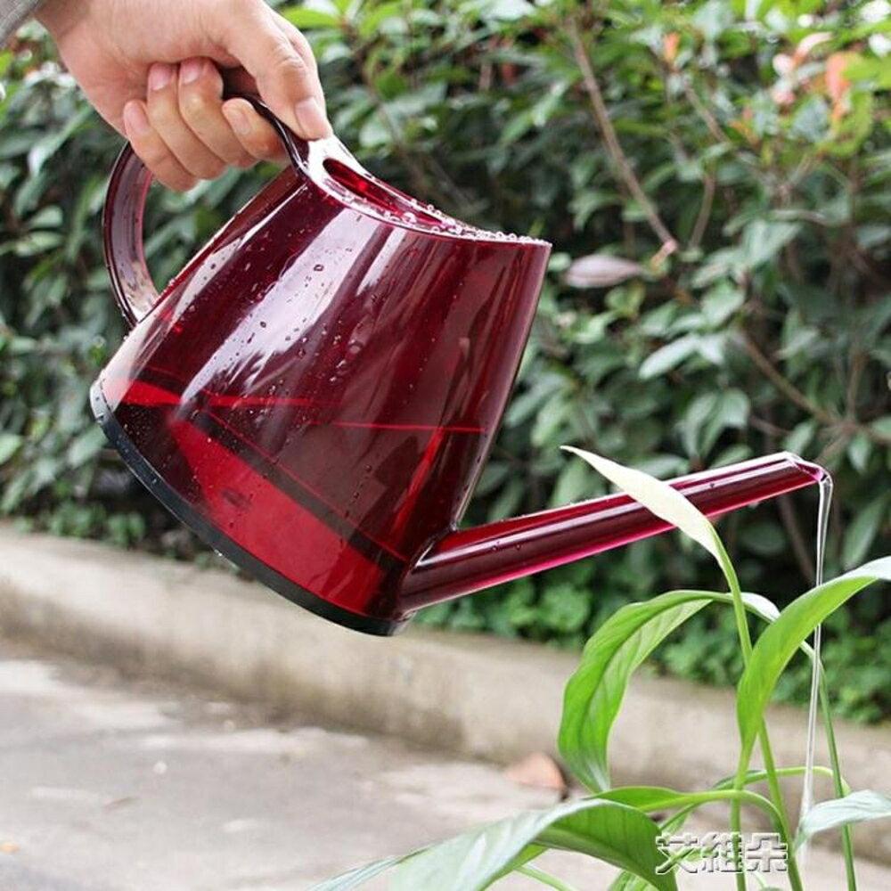 澆花水壺家用室內灑水壺淋花工具個性彩色透明塑料長嘴澆水壺 清涼一夏钜惠