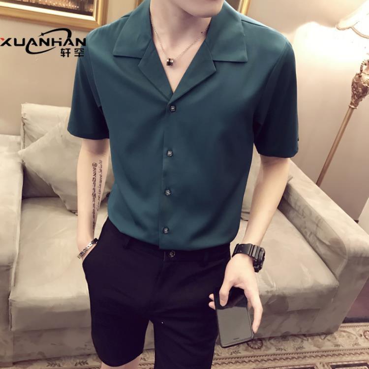 網紅很仙的短袖男襯衫發型師潮流個性帥氣薄寸衫潮男痞帥半袖襯衣 凡卡時尚