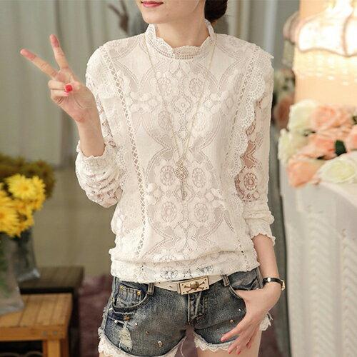 立領蕾絲衫長袖衫 (白色,M~2XL) 【OREAD】 - 限時優惠好康折扣