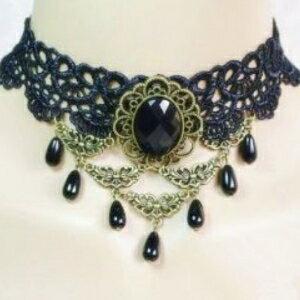 美麗大街【GX0452】宮廷復古 時尚個性 黑色蕾絲鎖骨頸飾項鍊 飾品