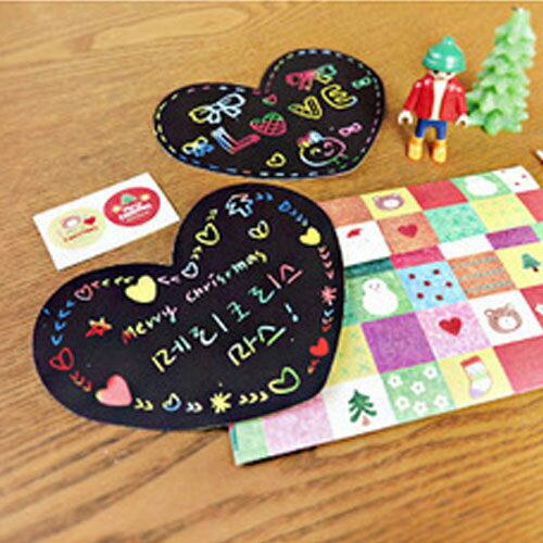 PS Mall 創意DIY 韓國刮刮畫 刮刮卡套裝(卡片2+信封1+筆1)【J2272】