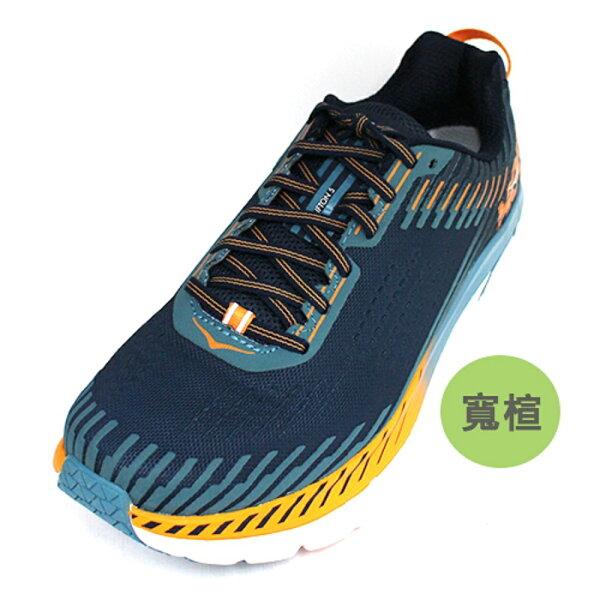 HOKAONEONE男慢跑鞋Clifton5(藍橘)輕量穩定超緩震跑鞋HO1093757BISB【胖媛的店】