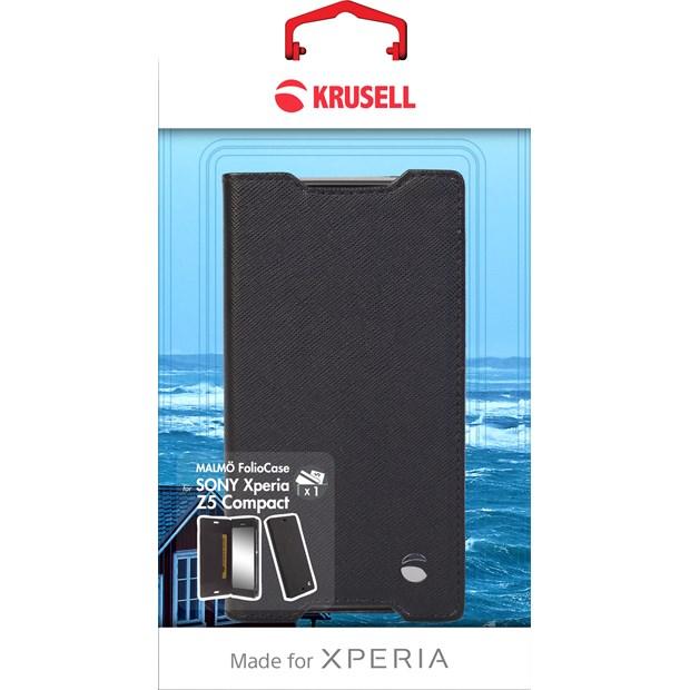 (贈專用保貼+支架)Krusell 側掀皮套/SONY Xperia Z5 Compact/手機皮套/保護套【馬尼通訊】
