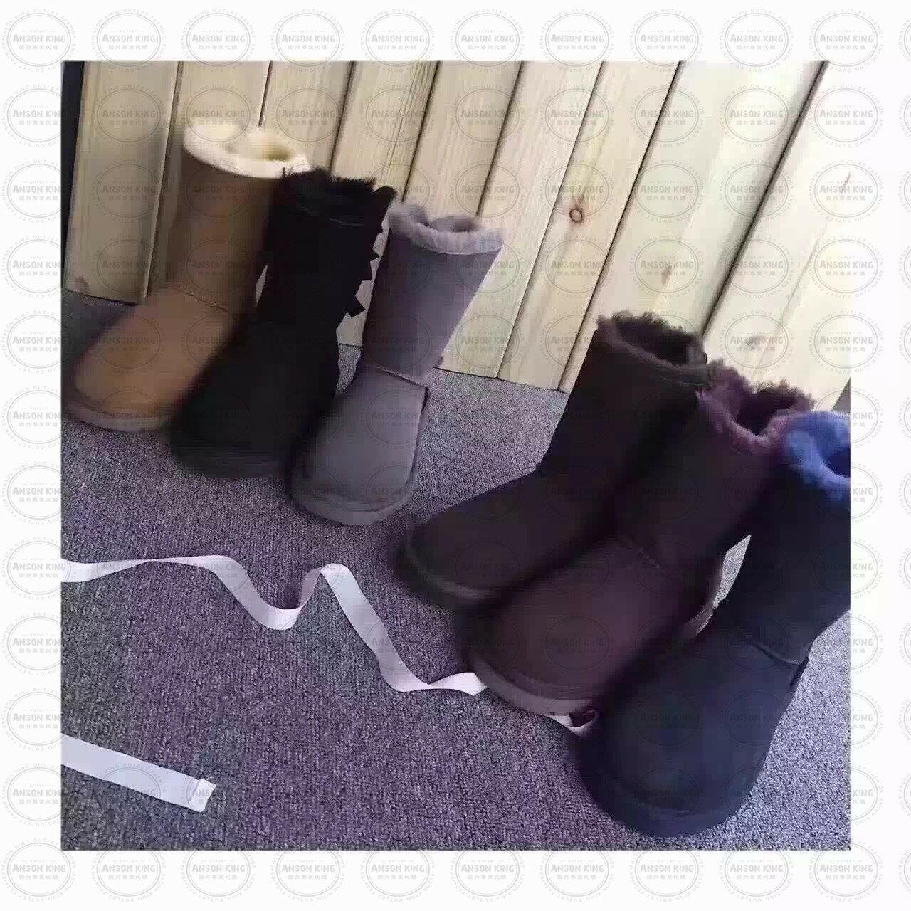 OUTLET正品代購 澳洲 UGG 蝴蝶結3280羊皮毛一體 中長靴 保暖 真皮羊皮毛 雪靴 短靴 深褐色 1