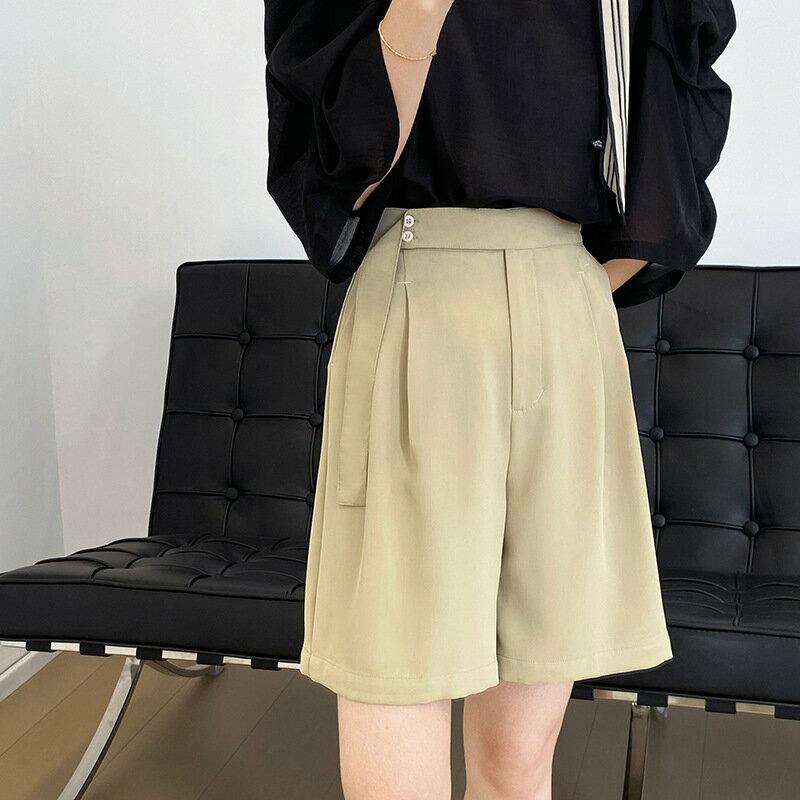 垂感五分西裝闊腿短褲女2021夏休閒直筒高腰顯瘦黑色褲子