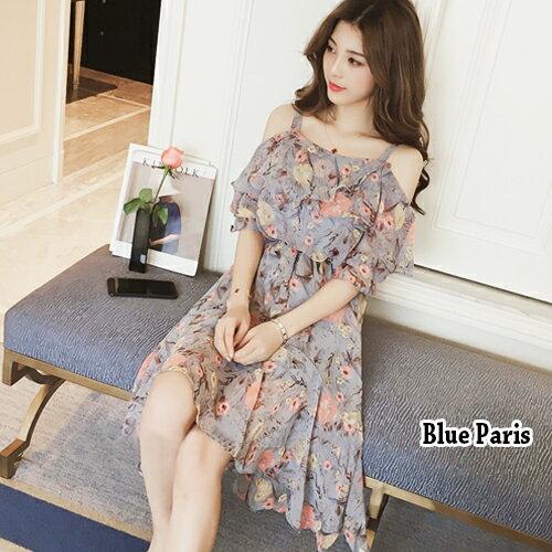 洋裝  甜美碎花一字領雪紡連身裙 【28085】 Blue Paris 0