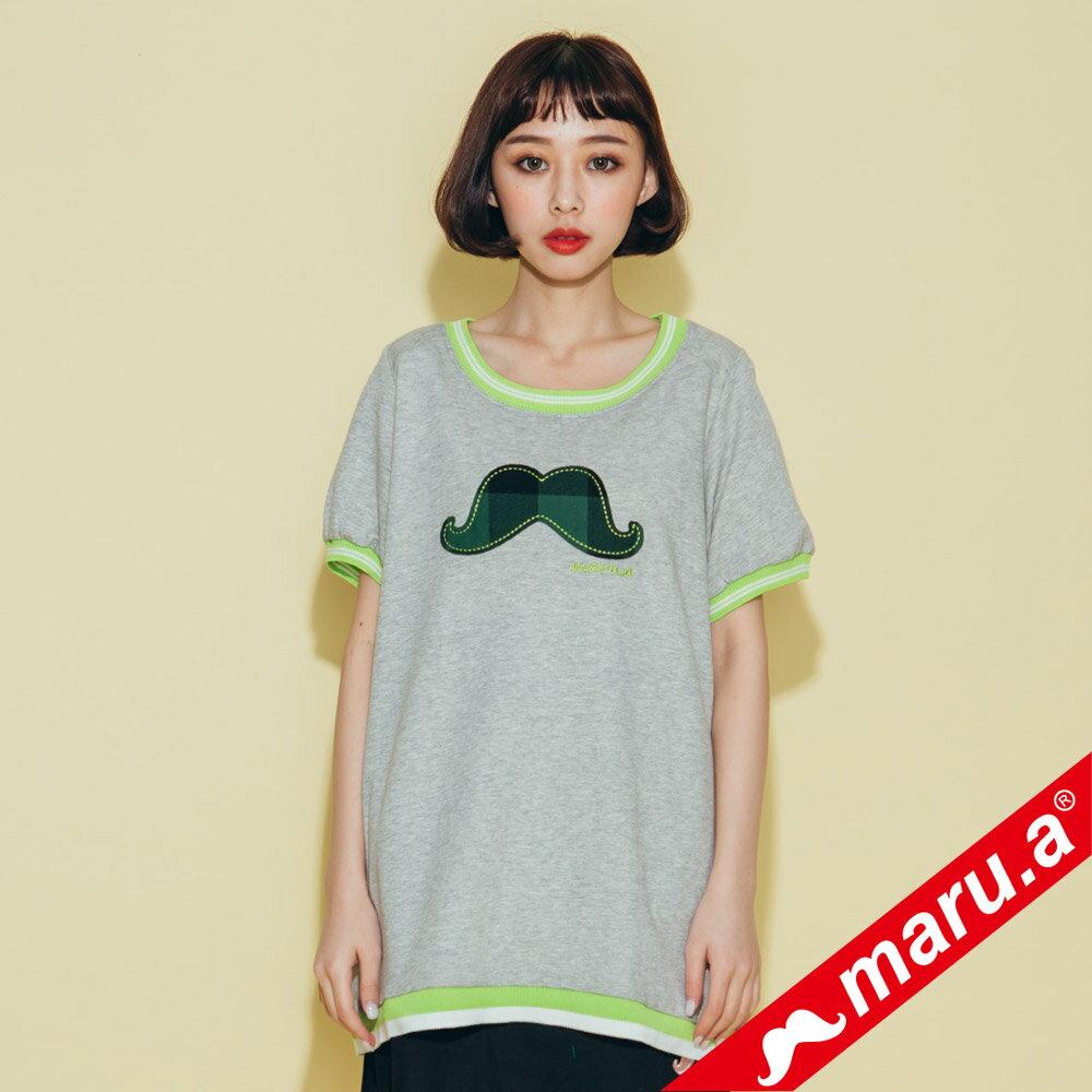 【maru.a】大鬍子撞色羅紋T-Shirt(2色)8321316 3