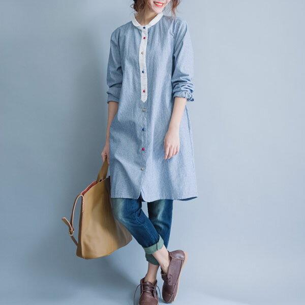 中大尺碼彩色紐釦白色滾邊長版上衣襯衫【B-18-0025】LYNNSHOP