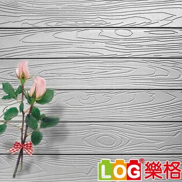 LOG樂格:LOG樂格3D立體深凹木皮紋防撞美飾牆貼-銀灰色X5入(防撞壁貼防撞墊)