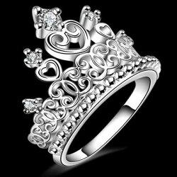 ★925純銀戒指 鑲鑽銀飾-精緻優雅氣質皇冠造型母親節生日情人節禮物女配件73aq33【獨家進口】【米蘭精品】