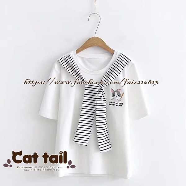 《貓尾巴》TS-0526小清新倉鼠刺繡短袖T恤(森林系日系棉麻文青清新)