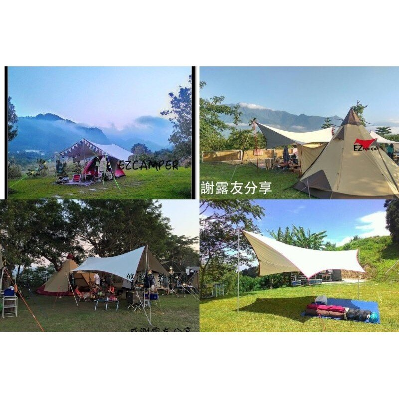 【悠遊戶外】Camp Plus SP改良210D抗撕裂銀膠蝶形天幕 ez-762 熊帳 神殿 TP-762 TP-742