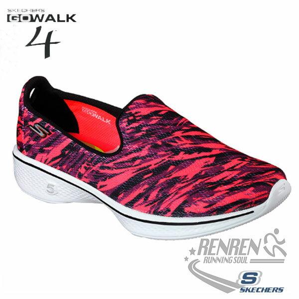 SKECHERS 女健走鞋GO Walk 4 (黑紅) 懶人鞋 運動鞋