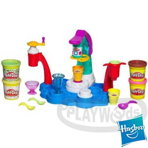 【Playwoods】[培樂多黏土PLAYDOH]冰淇淋派對Ice Cream Shoppe Playset(一組內含3盎司4罐-孩之寶)